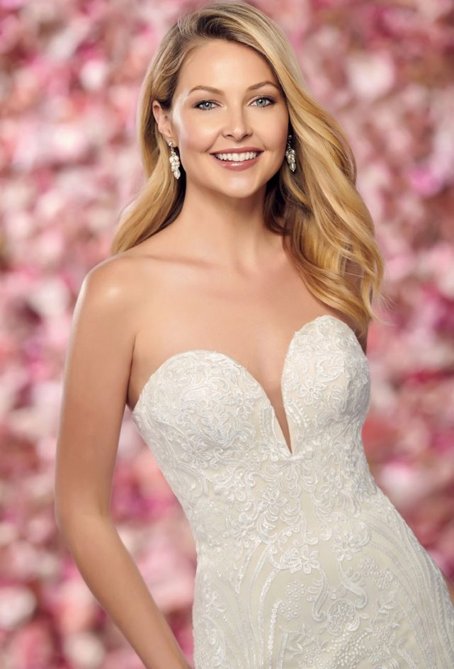 Sexy Strapless Lace, Sequin and Tulle Fit and Flare Gown.  Diamond White, Diamond White/Nude